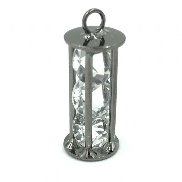 Caged egg timer shape with 3 crystals inside - 22mm x 8mm - Gun metal
